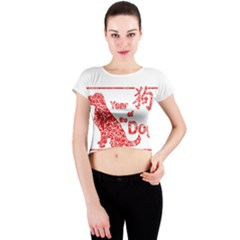 Year Of The Dog   Chinese New Year Crew Neck Crop Top