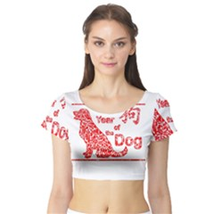 Year Of The Dog   Chinese New Year Short Sleeve Crop Top