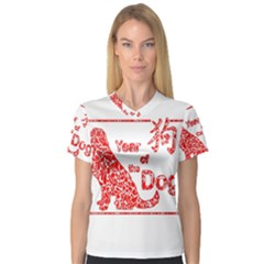 Year Of The Dog   Chinese New Year V Neck Sport Mesh Tee