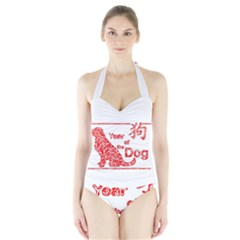 Year Of The Dog   Chinese New Year Halter Swimsuit