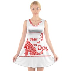 Year Of The Dog   Chinese New Year V Neck Sleeveless Skater Dress