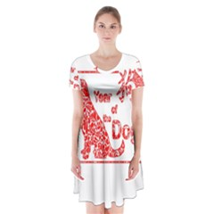 Year Of The Dog   Chinese New Year Short Sleeve V Neck Flare Dress