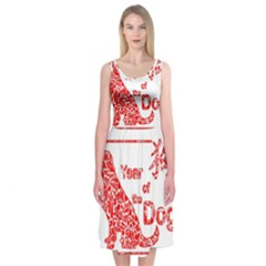 Year Of The Dog   Chinese New Year Midi Sleeveless Dress
