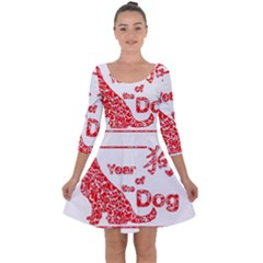 Year Of The Dog   Chinese New Year Quarter Sleeve Skater Dress