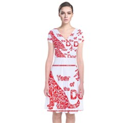 Year Of The Dog   Chinese New Year Short Sleeve Front Wrap Dress