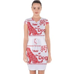 Year Of The Dog   Chinese New Year Capsleeve Drawstring Dress