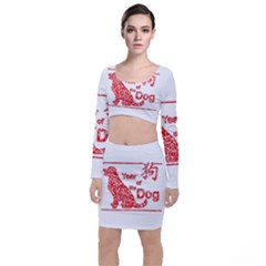 Year Of The Dog   Chinese New Year Long Sleeve Crop Top & Bodycon Skirt Set