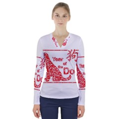 Year Of The Dog   Chinese New Year V Neck Long Sleeve Top