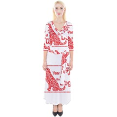Year Of The Dog   Chinese New Year Quarter Sleeve Wrap Maxi Dress