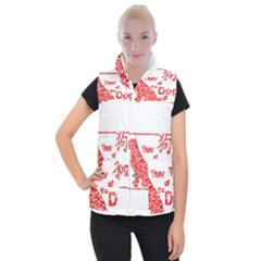 Year Of The Dog   Chinese New Year Women s Button Up Puffer Vest