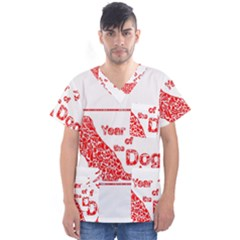 Year Of The Dog   Chinese New Year Men s V Neck Scrub Top