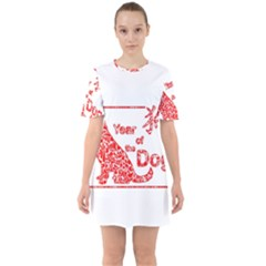 Year Of The Dog   Chinese New Year Sixties Short Sleeve Mini Dress