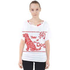 Year Of The Dog   Chinese New Year V Neck Dolman Drape Top