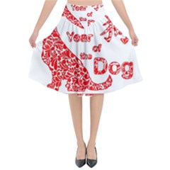 Year Of The Dog   Chinese New Year Flared Midi Skirt