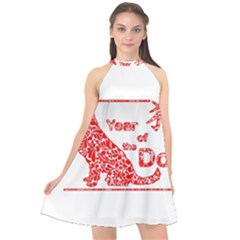 Year Of The Dog   Chinese New Year Halter Neckline Chiffon Dress