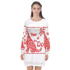 Year Of The Dog   Chinese New Year Long Sleeve Chiffon Shift Dress