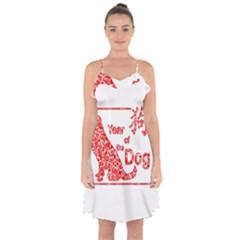 Year Of The Dog   Chinese New Year Ruffle Detail Chiffon Dress