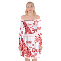 Year Of The Dog   Chinese New Year Off Shoulder Skater Dress