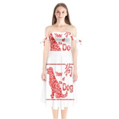 Year Of The Dog   Chinese New Year Shoulder Tie Bardot Midi Dress