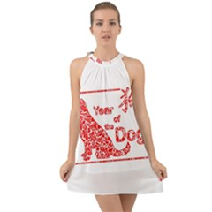 Year Of The Dog   Chinese New Year Halter Tie Back Chiffon Dress