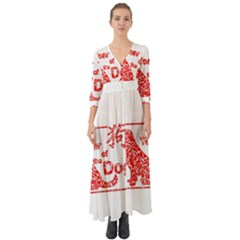 Year Of The Dog   Chinese New Year Button Up Boho Maxi Dress