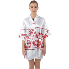 Year Of The Dog   Chinese New Year Quarter Sleeve Kimono Robe