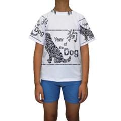 Year Of The Dog   Chinese New Year Kids  Short Sleeve Swimwear