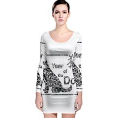 Year Of The Dog   Chinese New Year Long Sleeve Bodycon Dress