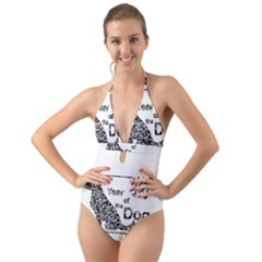 Year Of The Dog   Chinese New Year Halter Cut Out One Piece Swimsuit