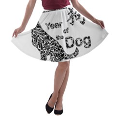 Year Of The Dog   Chinese New Year A Line Skater Skirt