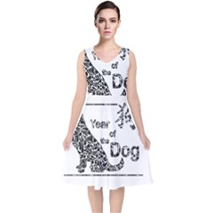 Year Of The Dog   Chinese New Year V Neck Midi Sleeveless Dress