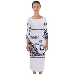 Year Of The Dog   Chinese New Year Quarter Sleeve Midi Bodycon Dress