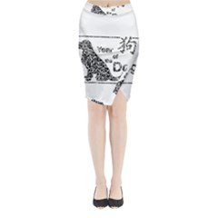 Year Of The Dog   Chinese New Year Midi Wrap Pencil Skirt
