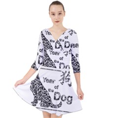 Year Of The Dog   Chinese New Year Quarter Sleeve Front Wrap Dress