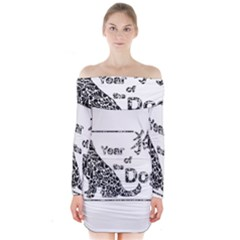 Year Of The Dog   Chinese New Year Long Sleeve Off Shoulder Dress