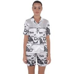 Year Of The Dog   Chinese New Year Satin Short Sleeve Pyjamas Set