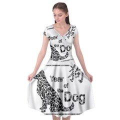 Year Of The Dog   Chinese New Year Cap Sleeve Wrap Front Dress