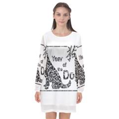 Year Of The Dog   Chinese New Year Long Sleeve Chiffon Shift Dress