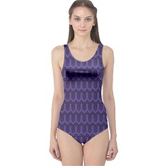 Color Of The Year 2018   Ultraviolet   Art Deco Black Edition One Piece Swimsuit