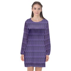 Color Of The Year 2018   Ultraviolet   Art Deco Black Edition Long Sleeve Chiffon Shift Dress