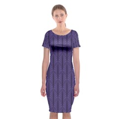 Color Of The Year 2018   Ultraviolet   Art Deco Black Edition Classic Short Sleeve Midi Dress