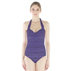 Color Of The Year 2018   Ultraviolet   Art Deco Black Edition Halter Swimsuit