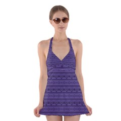 Color Of The Year 2018   Ultraviolet   Art Deco Black Edition Halter Dress Swimsuit