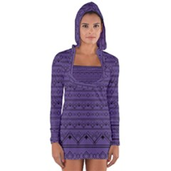 Color Of The Year 2018   Ultraviolet   Art Deco Black Edition Long Sleeve Hooded T Shirt