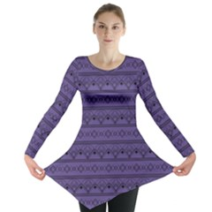 Color Of The Year 2018   Ultraviolet   Art Deco Black Edition Long Sleeve Tunic
