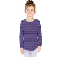 Color Of The Year 2018   Ultraviolet   Art Deco Black Edition Kids  Long Sleeve Tee