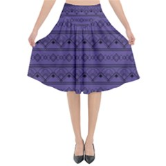 Color Of The Year 2018   Ultraviolet   Art Deco Black Edition Flared Midi Skirt