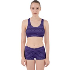 Color Of The Year 2018   Ultraviolet   Art Deco Black Edition Work It Out Sports Bra Set