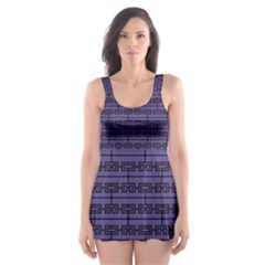 Color Of The Year 2018   Ultraviolet   Art Deco Black Edition Skater Dress Swimsuit