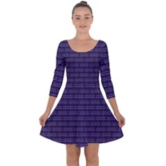 Color Of The Year 2018   Ultraviolet   Art Deco Black Edition Quarter Sleeve Skater Dress